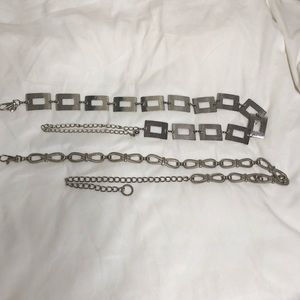 Accessories - Two Chain Belts Silver Metal tone